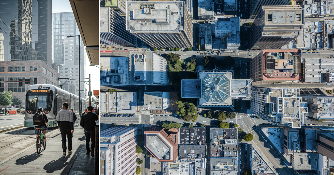 On the left a picture of Phoenix, AZ downtown. There is a streetcar in the centre, and several pedestrians. The sun is shining. On the right, a drone view of a city landscape showing various roofs.